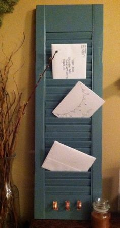 Shutter mail organizer, card holder, key hanger: Peacock Blue. $40.00, via Etsy.