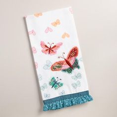One of my favorite discoveries at WorldMarket.com: Embroidered Butterflies Kitchen Towel