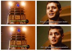 Actually just all of the SuperWho possible, k thx. | 34 Amazing Crossovers You Wish Were Real - Supernatural - Doctor Who - Dean Winchester - Jensen Ackles