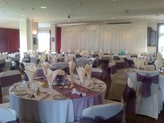 Plum Organza Sash with Ivory Chair Covers