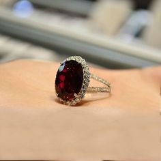 deep red diamond wedding ring