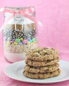 Chocolate chip cookie mix in a jar. A great Easter or springtime gift if you use pastel candies.