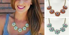 Designer Inspired Colorful Floral Necklace!
