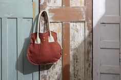 Tote bag - canvas with cream leather