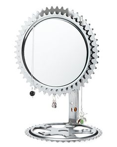 mirror from recycled bike parts - For more great pics, follow www.bikeengines.com