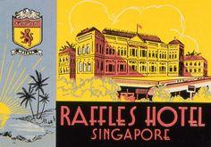 Raffles Hotel, Singapore, Luggage Label, 1940