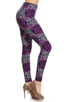 Take a look at this Navy & Purple Floral Leggings today! Knit Leggings, Floral Leggings, Printed Leggings, Mode Des Leggings, Leggings Depot, Navy Blue Leggings, Women's Summer Fashion, Leggings Fashion, Wholesale Clothing