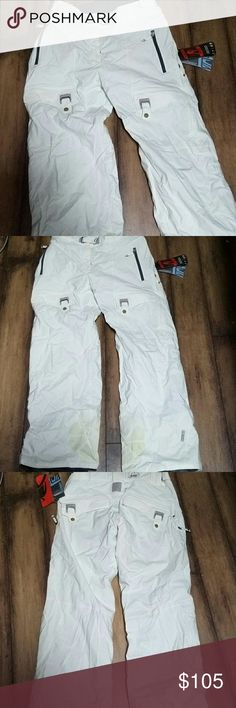 Scott Academy ski pants snow nwt cloud white Scott snowboarding/ski pants.  New with tags!!! Academy regular fit.  Great for all winter sports.  Large pockets.  Side vents for spring skiing.    Someone asked about the yellow on the legs. It's part of design for the part that keeps your boots from rubbing.    Amazing pants. Scott is one of the very best ski brands.  One of the most popular styles ever. Scott Pants Wide Leg