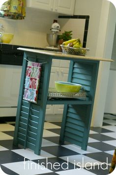 Repurposed shutters and coffee table top into Island