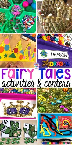 Fairy Tales activities for every center plus a shape crown freebie all designed for preschool, pre-k, and kindergarten #fairytalestheme #preschool #prek #kindergarten