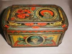 Antique British Biscuit Tin, Huntley & Palmers, WILD FLOWERS from ...