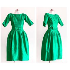 1950s emerald green fit and flare party dress by TimeTravelFashions on Etsy