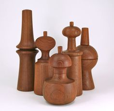 Dansk produced a series of sculptural pepper mills, designed by Jens H Quistgaard.
