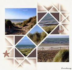 Nice beach scrapbook page. Mimic the diagonals with project life Scrapbook Examples, Scrapbook Templates, Scrapbook Designs, Scrapbook Sketches, Scrapbook Page Layouts, Album Photo Scrapbooking, Travel Scrapbook Pages, Scrapbook Albums, Diy Scrapbook