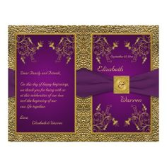 Purple And Gold Wedding Ideas | Royal Purple and Gold Medallion Wedding Program Full Color Flyer from ...