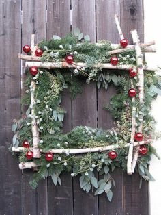 Square Wreath Birch Wreath by JCMiller Studios Noel Christmas, Country Christmas, All Things Christmas, Winter Christmas, Christmas Wreaths, Simple Christmas, Christmas Nails, Christmas Wedding, Christmas Cookies