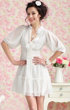Summer White Soft Feminine Deep V Ribbon Chiffon Dress