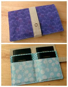Crafting...: custom-made 4-pocket purple/aqua family passport wallet (pattern by Amber of One Shabby Chick)