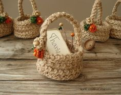 Crochet Mini Gift Baskets Set of 5 Crochet Twine by VENDecor, $30.00