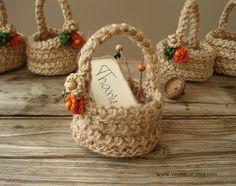Crochet Mini Gift Baskets Set of 5 Crochet Twine by VENDecor, $30.00