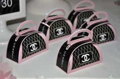 purse favors at a Chanel birthday party! See more party planning ideas at ! Chanel Birthday Party, Chanel Party, Paris Birthday, Sweet 16 Birthday, 50th Birthday Party, Birthday Favors, Chanel Baby Shower, Chanel Decor, Barbie Party