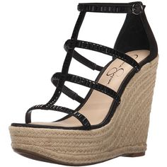 Jessica Simpson Women's Adelinn Espadrille Wedge Sandal (700 MXN) ❤ liked on Polyvore featuring shoes, sandals, jessica simpson sandals, wedge sandals, wedge shoes, platform wedge shoes and espadrille wedge shoes