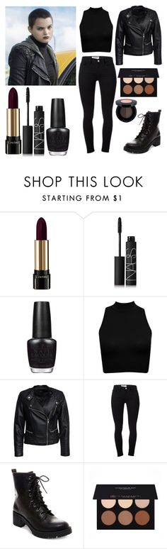 """""""Negasonic Teenage Warhead - Deadpool"""" by laughsalotisabelle ❤ liked on Polyvore featuring Lancôme, NARS Cosmetics, OPI, Sisters Point, Frame Denim, Madden Girl, Anastasia Beverly Hills, women's clothing, women's fashion and women"""