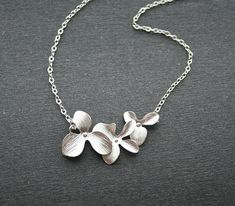 Silver Orchid Necklace Triple Orchids Necklace by smilesophie