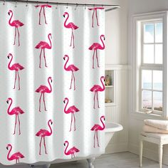 Destinations Flamingo Shower Curtain, White
