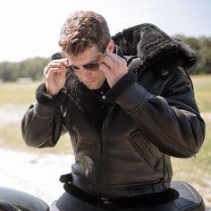 Man in All Black B-3 Hooded Sheepskin Bomber Jacket ♡♡♡