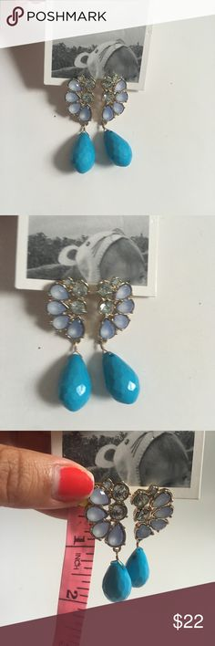 Turquoise Anthropologie Earrings Cute turquoise drop anthropologie earrings. Gold metal. See picture for length. NWT. Original price not on tag. Anthropologie Jewelry Earrings