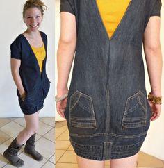 Une robe jeans à l'envers avec un vieux jeans trop grand. 52 façons créatives pour recycler vos vieux jeans