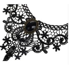 Black Lace Steampunk Choker Black Beads and Cameo - Click to enlarge
