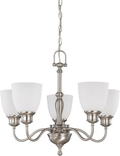 Brushed Nickel Chandelier (Arms Up) with Frosted Linen Glass