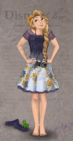 Chic Rapunzel by MattesWorks.deviantart.com on @DeviantArt Disney Princess Ages, Modern Disney Princesses, Disney Princess Sketches, Disney Princess Fashion, Disney Princess Dresses, Princess Art, Disney Fashion, Disney Style, Disney Girls