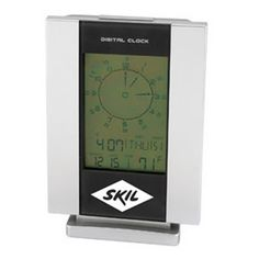 Desk top table digital LCA multi function clock with illuminated display. The display function includes LCA and 12/24 hour digital clock, week day, date, month and temperature. Also features snooze, countdown timer and 13 city world time zone. Uses 2 AAA batteries (not included).