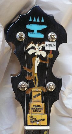 """Hickler Banjos """" The Arizona"""" (feat. Roadrunner and Wile E Coyote) Lardy's Chordophone of the day 2017 Murder Mysteries, Cozy Mysteries, Guitar Inlay, Banjo Ukulele, Hammered Dulcimer, Teen Party Games, Music Machine, Cigar Box Guitar, Folk Music"""