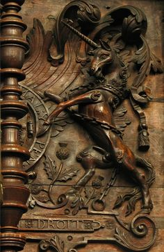 Wood carving detail, Unicorn