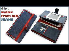 Diy Denim Wallet, Sew Wallet, Fabric Wallet, Denim Purse, Handmade Leather Wallet, Diy Old Jeans, Wallet Sewing Pattern, Mini Mochila, Diy Phone Case