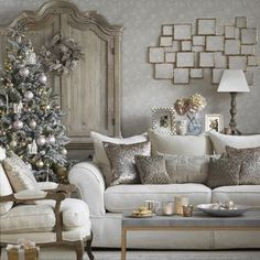 Sparkling white Christmas living room with metallic accents