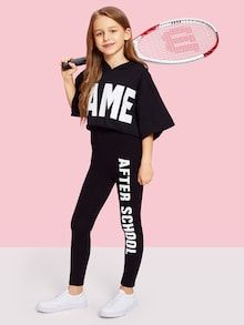 Shop Girls Letter Print One Side Leggings online. SHEIN offers Girls Letter Print One Side Leggings & more to fit your fashionable needs. Cute Girl Outfits, Kids Outfits Girls, Cute Outfits For Kids, Trendy Outfits, Girls Fashion Clothes, Tween Fashion, Teen Fashion Outfits, Girl Fashion, Girls In Leggings