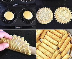 Cream Filled Pizzelles (Trubochki) - Olga in the Kitchen Italian Cookie Recipes, Italian Cookies, Italian Desserts, Pizzelle Cookies, Pizzelle Recipe, Pizzelle Maker, Delicious Desserts, Dessert Recipes, Dessert Ideas