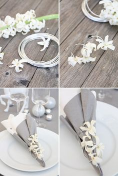 flowers (hyacinth?) threaded onto wire for napkin rings- so pretty