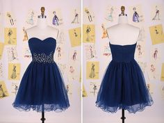 Navy Blue Sweetheart Beading Belt Short Prom Dress/Knee Length Homecoming Dress/Sexy party Dress/Tulle Prom Dress