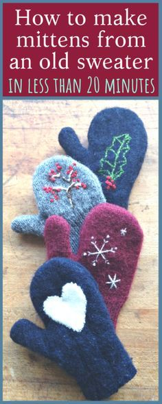 How to make mittens from old sweaters! - Sweater mittens - How to make mittens from old sweaters! - Sweater mittens - Fäustlinge How to make mittens from old sweaters! Sweater Mittens, Baby Mittens, Old Sweater, Baby Sweaters, Kids Knitting Patterns, Knitting For Kids, Crochet For Kids, Knitting Hats, Free Knitting