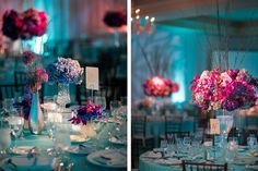 Wedding Reception Ideas & Table Settings - Teal, pink & purple from semprenoiva.com.b...