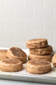 Whip up a batch of the whole wheat English muffins and store them in the freezer for an easy grab-and-go breakfast option. #englishmuffins #breakfast #makeahead Whole Wheat English Muffin, English Muffin Recipes, Homemade English Muffins, Make Ahead Breakfast Casserole, Grab And Go Breakfast, Breakfast Options, Breakfast Recipes, Yummy Snacks, Yummy Drinks