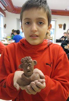 Clay Portrait Bust in terra cotta clay.