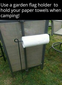 Use a Flag Holder to hold your Paper Towels while Camping.these are the BEST C. - Use a Flag Holder to hold your Paper Towels while Camping…these are the BEST Camping Ideas, Gear, - Camping Info, Camping Bedarf, Camping Survival, Family Camping, Outdoor Camping, Glamping, Luxury Camping, Camping Stuff, Camping Cabins