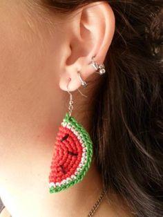 Crochet Watermelon Slice Earrings by SarasCrochetCouture for $10.00